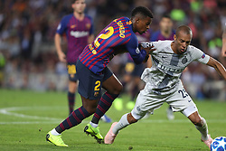October 24, 2018 - Barcelona, Spain - Barcelona, Spain, October 24, 2018: Nelson Semedo of FC Barcelona duels for the ball with Joao Miranda of FC Internazionale during the UEFA Champions League, Group B football match between FC Barcelona and FC Internazionale on October 24, 2018 at Camp Nou stadium in Barcelona, Spain (Credit Image: © Manuel Blondeau via ZUMA Wire)