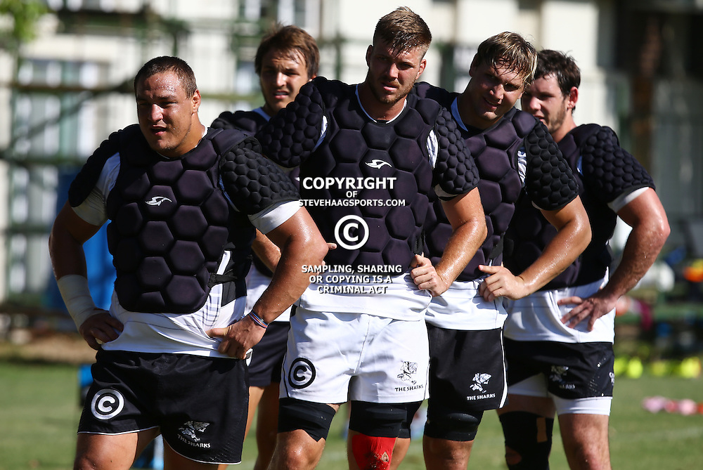 DURBAN, SOUTH AFRICA, 1,MARCH, 2016 - Coenie Oosthuizen with Stephan Lewies  Etienne Oosthuizen  and Marcell Coetzee during The Cell C Sharks training session  at Growthpoint Kings Park in Durban, South Africa. (Photo by Steve Haag)<br /> images for social media must have consent from Steve Haag