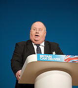 Conservative Party Conference, ICC, Birmingham, Great Britain <br /> Day 2<br /> 8th October 2012 <br /> <br /> <br /> Rt Hon Eric Pickles MP <br /> Secretary of State of Communities and Local Government <br /> <br /> <br /> <br /> Photograph by Elliott Franks<br /> <br /> <br /> Tel 07802 537 220 <br /> elliott@elliottfranks.com<br /> <br /> ©2012 Elliott Franks<br /> Agency space rates apply