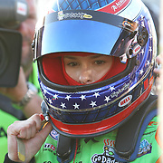 Danica Patrick after practice at Daytona International Speedway on February 18, 2011 in Daytona Beach, Florida. (AP Photo/Alex Menendez)