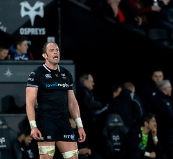 Ospreys' Alun Wyn Jones<br /> <br /> Photographer Simon King/Replay Images<br /> <br /> Guinness PRO14 Round 19 - Ospreys v Leinster - Saturday 24th March 2018 - Liberty Stadium - Swansea<br /> <br /> World Copyright © Replay Images . All rights reserved. info@replayimages.co.uk - http://replayimages.co.uk