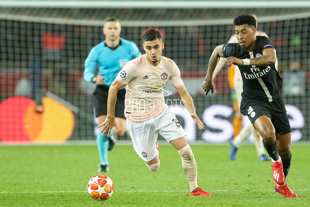 Manchester United Midfielder Andreas Pereira battles with Presnel Kimpembe of Paris Saint-Germain during the Champions League Round of 16 2nd leg match between Paris Saint-Germain and Manchester United at Parc des Princes, Paris, France on 6 March 2019.