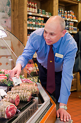 Andre Birckett Manager of Chatsworth Farm Shop In The Butchery Department..10  May 2012.Image © Paul David Drabble