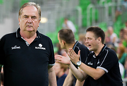 Bozidar Maljkovic, head coach of Slovenia and his assistant Aleksander Sekulic during basketball match between National teams of Slovenia and Croatia in day 2 of Adecco cup, on August 4, 2012 in Arena Stozice, Ljubljana, Slovenia. (Photo by Vid Ponikvar / Sportida.com)