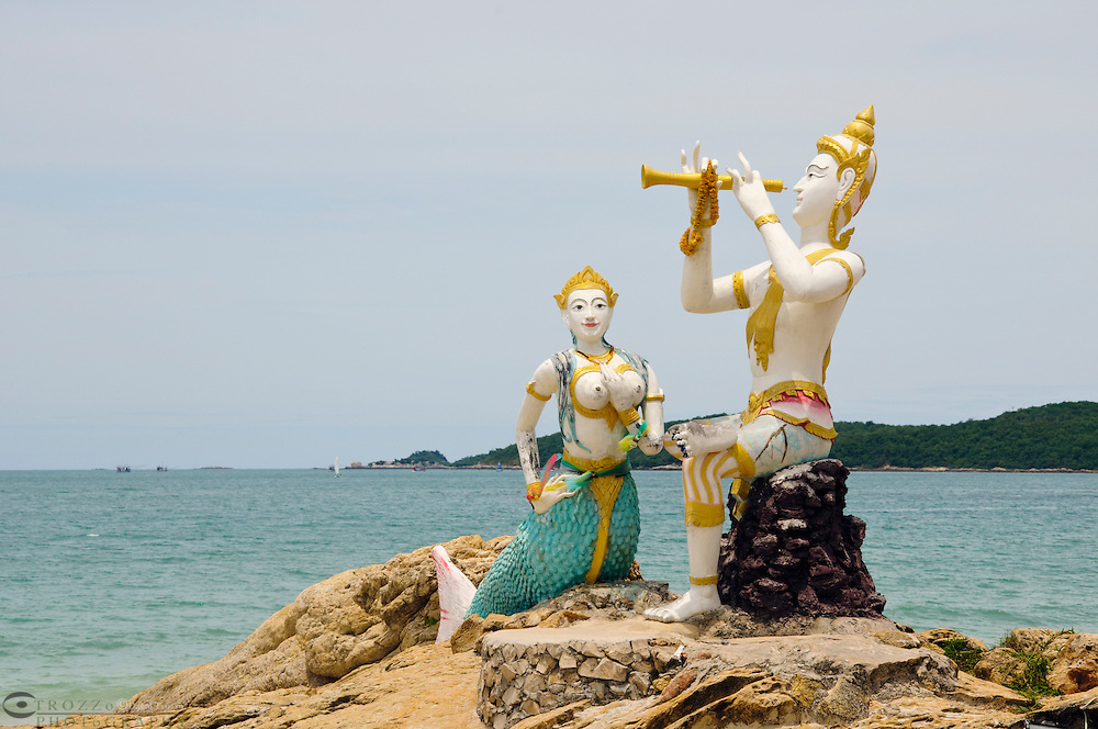 Statues of the title character from the epic work, Phra Aphai Mani by Thai Poet, Sunthorn Phu on the Hat Sai Gaew beach, Koh Samet, Thailand.