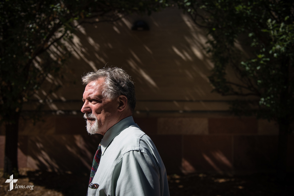 Dr. E. Christian Kopff, associate professor of Classics at the University of Colorado, Boulder, walks the campus on Wednesday, July 22, 2015, in Boulder, Colo. LCMS Communications/Erik M. Lunsford