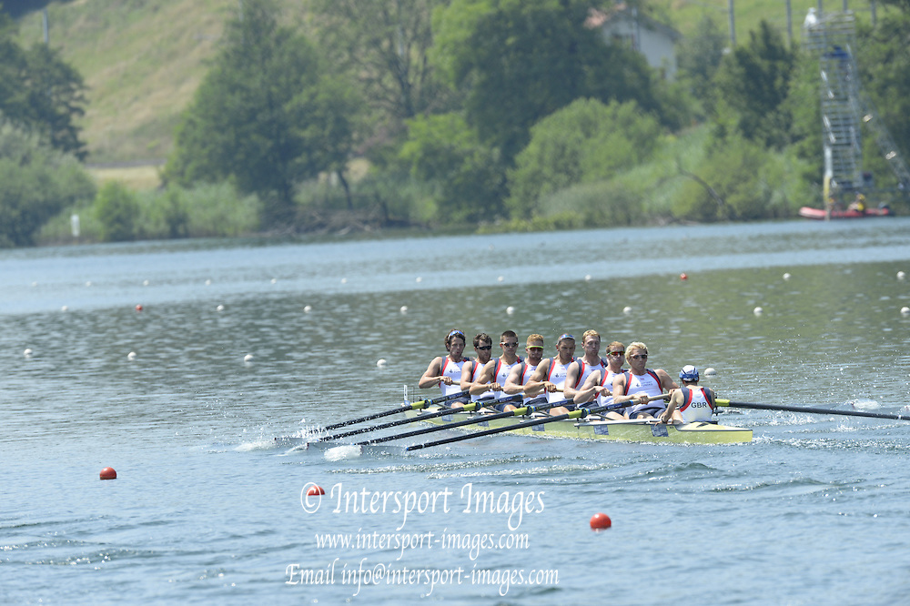 Lucerne. Switzerland. GBR1 M8+. Bow. Tom RANSLEY, Dan RICHIE, Peter REED, Will SATCH, Mo SBIHI, Alex GREGORY George NASH, Andy TRIGGS HODGE and cox,  Phelan HILL, move away from the start pontoon in their heat of the  men's eights FISA WC III. 13:48:38  Friday  12/07/2013  [Mandatory Credit, Peter Spurrier/ Intersport Images] Lake Rotsee,