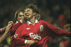 Liverpool, England - Wednesday, November 27th, 1996: Liverpool's Steve McManaman celebrates scoring the opening goal with team-mate Jason McAteer during the 4-2 victory over Arsenal during the 4th Round of the League Cup at Anfield. (Pic by David Rawcliffe/Propaganda)