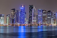 A multi shot photo of Doha skyline. Around 20 pictures in this final frame
