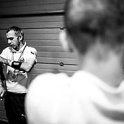 20.09.2014, Litauen, Vilnius, LITEXPO Kongress Center, Weltmeisterschaft im Armwrestling. Noch bevor sich die Armwrestler richtig aufw&auml;rmen, schmieren sie ihre Arme mit einer Muskel-Salbe ein. Die Salbe w&auml;rmt die Muskeln auf.<br /><br />09.20.2014 , Lithuania , Vilnius, LITEXPO Congress Center , World Armwrestling Championships. Even before the Armwrestler warm up properly, they smear their arms with a muscle ointment. The ointment is warming up the muscles.<br /><br />&copy;2014 Harald Krieg / Agentur Focus