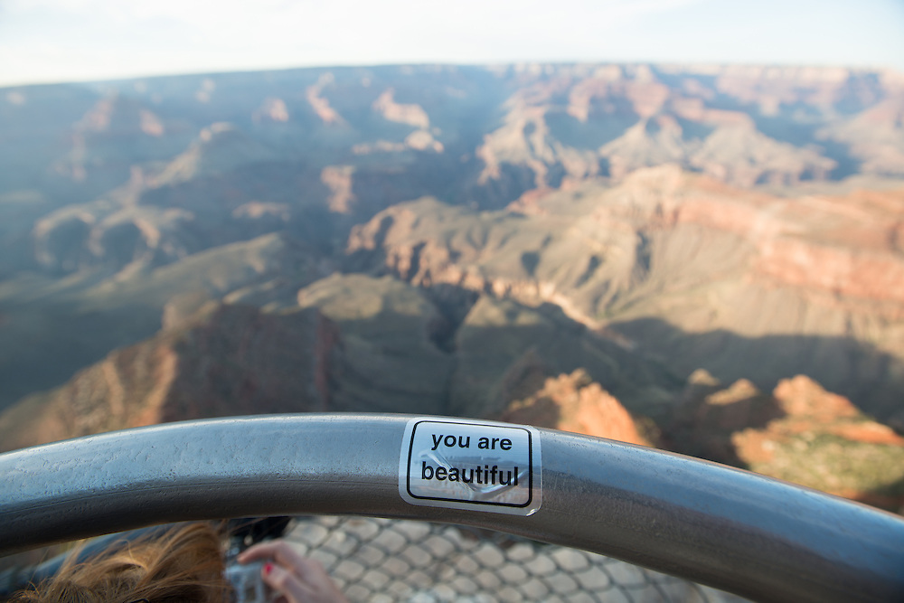 """""""You Are Beautiful"""" Sticker at the Grand Canyon"""