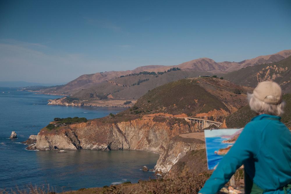 Plein-Air Painter, Big Sur, California, US