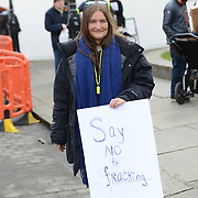 London,UK, 26th January 2015 : rotesters at Old Palace Yard to protest at the Governments plans to allow fracking in the UK which involves changes to trespass law to make it easier for drilling companies to extract the gas. The Infrastructure Bill gets it's 3rd reading today. Photo by See Li