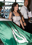 Olympic gold medalist and Dancing with the Stars winner Kristi Yamaguchi seen in the green prior to the running of the 92nd Indianapolis 500 on May 25, 2008. Photo by Michael Hickey