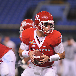 Dec 19, 2009; St. Petersburg, Fla., USA; Rutgers quarterback Tom Savage (7) drops back in play-action during NCAA Football action in Rutgers' 45-24 victory over Central Florida in the St. Petersburg Bowl at Tropicana Field.