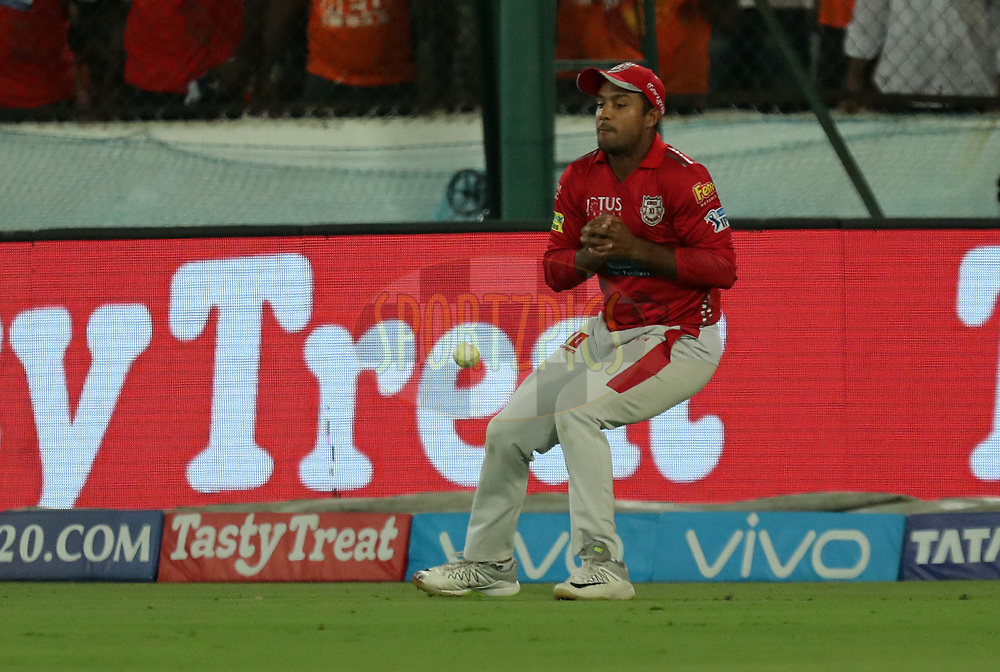 Mayank Agrawal of Kings XI Punjab dropped the catch during match twenty five of the Vivo Indian Premier League 2018 (IPL 2018) between the Sunrisers Hyderabad and the Kings XI Punjab  held at the Rajiv Gandhi International Cricket Stadium in Hyderabad on the 26th April 2018.<br /> <br /> Photo by: Prashant Bhoot /SPORTZPICS for BCCI