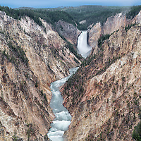 Lower Yellowstone Falls, Grand Canyon of the Yellowstone, in Canyon section of Yellowstone National Park, Wyoming.