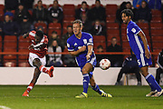 Nottingham Forest midfielder Mustafa Carayol (18) puts a cross in to the box during the EFL Sky Bet Championship match between Nottingham Forest and Birmingham City at the City Ground, Nottingham, England on 14 October 2016. Photo by Jon Hobley.