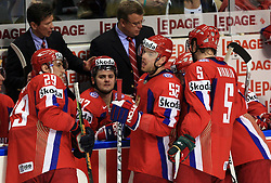 Head coach of Russia Vyacheslav Bykov, Sergei Fedorov (29) of Russia, Alexander Radulov (47) of Russia, Andrei Markov (52) of Russia, Ilya Nikulin (5) of Russia at  ice-hockey game Canada vs Russia at finals of IIHF WC 2008 in Quebec City,  on May 18, 2008, in Colisee Pepsi, Quebec City, Quebec, Canada. Win of Russia 5:4 and Russians are now World Champions 2008. (Photo by Vid Ponikvar / Sportal Images)