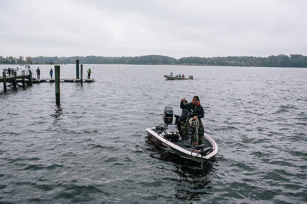 Peter Kenny and Cody Griffy of Christopher Newport University dock their boat during the FLW College Fishing Northern Conference Invitational in Marbury, MD on Oct. 11, 2014. Only the top 15 of 43 teams moved on to Sunday.