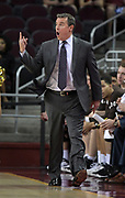 Nov 22, 2017; Los Angeles, CA, USA; Lehigh Mountain Hawks head coach Brett Reid reacts during an NCAA basketball game against the Southern California Trojans at Galen Center. USC defeated Lehigh 88-63.