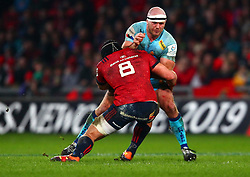 Jack Yeandle of Exeter Chiefs is tackled by CJ Stander of Munster Rugby - Mandatory by-line: Ken Sutton/JMP - 19/01/2019 - RUGBY - Thomond Park - Limerick,  - Munster Rugby v Exeter Chiefs -