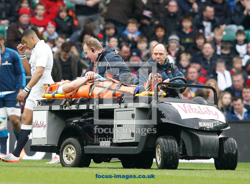 Mike Brown of England is stretchered off during the RBS 6 Nations match at Twickenham Stadium, Twickenham<br /> Picture by Andrew Tobin/Focus Images Ltd +44 7710 761829<br /> 14/02/2015
