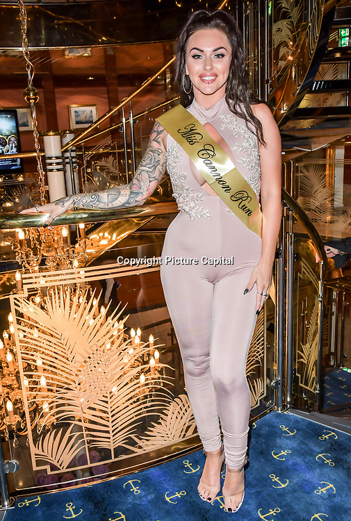 The Cannon Run bikini girls winners Kitty King(2nd) at the Driving holiday experience hosts yacht party at The Sunborn Yacht, Royal Victoria Dock on 31 May 2019, London, UK.
