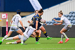 Zoe Bennion of Worcester Valkyries is tackled by Marlie Packer of Saracens Ladies  - Mandatory by-line: Craig Thomas/JMP - 30/09/2017 - RUGBY - Sixways Stadium - Worcester, England - Worcester Valkyries v Saracens Women - Tyrrells Premier 15s