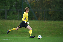 LIVERPOOL, ENGLAND - Friday, October 14, 2011: Manchester United's goalkeeper Liam Jacob in action against Liverpool during the FA Premier League Academy match at the Kirkby Academy. (Pic by David Rawcliffe/Propaganda)