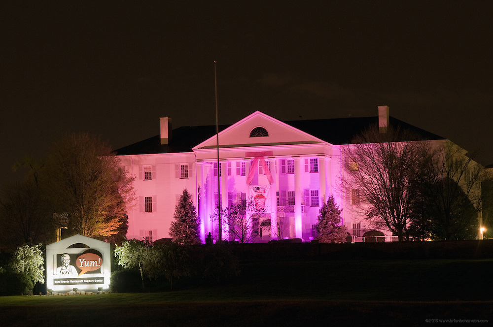 "KFC's ""White House"" global headquarters ""goes pink"" Friday, April 9, 2010 in Louisville, Ky., as part of a brand-wide color makeover to help launch their Buckets For a Cure(TM) campaign, aimed at raising both money and awareness for breast cancer. (Photo by Brian Bohannon)."