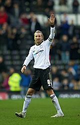 DERBY, ENGLAND - Saturday, March 12, 2011: Derby County's Robbie Savage taunts the Swansea City supporters, the very fans he wants to play for again as an international player with Wales, after his side's 2-1 victory during the Football League Championship match at Pride Park. (Photo by David Rawcliffe/Propaganda)