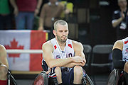 UNITED KINGDOM, London: 2015 World Wheelchair Rugby Challenge. Caption: Josh Wheeler looks down and out after their defeat against Canada in the World Wheelchair Rugby Championship finals. Rick Findler / Story Picture Agency