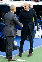 Real Madrid's coach Zinedine Zidane and Malaga CF's coach Marcelo Romero during La Liga match between Real Madrid and Malaga CF at Santiago Bernabeu Stadium in Madrid, Spain. January 21, 2017. (ALTERPHOTOS/BorjaB.Hojas)