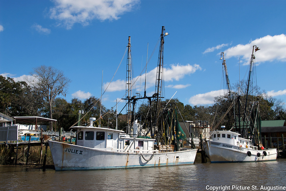 Shrimp boat fleet docked in the historic small town of Darien, Georgia.