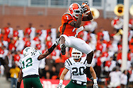 October 3, 2009:  Bowling Green's Freddie Barnes #7 goes up for the catch during the NCAA footbal game game between Ohio Bobcats and BGSU Falcons atDoylt Perry Stadium in Bowling Green, Ohio