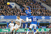 Everton defender Ramiro Funes Mori   with a header on goal during the Barclays Premier League match between Everton and Swansea City at Goodison Park, Liverpool, England on 24 January 2016. Photo by Simon Davies.