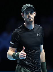 Andy Murray gives the thumbs up in his match with Marin Cilic during day two of the Barclays ATP World Tour Finals at The O2, London.