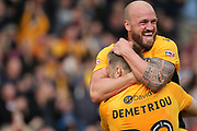 GOAL Mickey Demetriou celebrates his goal with David Pipe 1-0 during the EFL Sky Bet League 2 match between Newport County and Notts County at Rodney Parade, Newport, Wales on 6 May 2017. Photo by Daniel Youngs.