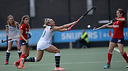 Surbiton's Hannah Martin challenges with SPV Complutense's Lucia Alfaro during their opening game of the EHCC 2017 at Den Bosch HC, The Netherlands, 2nd June 2017