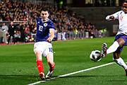 Man Of The Match Lewis Morgan Scotland U21s (Celtic FC)  tries to get a cross in but is shut down by Ryan Sessegnon England U21s (Fulham) during the U21 UEFA EUROPEAN CHAMPIONSHIPS match Scotland vs England at Tynecastle Stadium, Edinburgh, Scotland, Tuesday 16 October 2018.