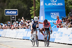Ruth Winder (USA) helps Coryn Rivera (USA) across the line at Amgen Tour of California Women's Race empowered with SRAM 2019 - Stage 3, a 126 km road race from Santa Clarita to Pasedena, United States on May 18, 2019. Photo by Sean Robinson/velofocus.com