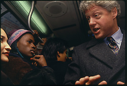 Presidential hopeful Bill Clinton rides the E train subway in New York during campaigning, 01 June 1992.