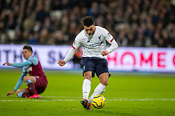LONDON, ENGLAND - Wednesday, January 29, 2020: Liverpool's Alex Oxlade-Chamberlain scores the second goal during the FA Premier League match between West Ham United FC and Liverpool FC at the London Stadium. Liverpool won 2-0. (Pic by David Rawcliffe/Propaganda)