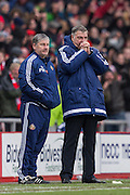 Sunderland's Manager Sam Allardyce  during the Barclays Premier League match between Sunderland and Manchester United at the Stadium Of Light, Sunderland, England on 13 February 2016. Photo by George Ledger.