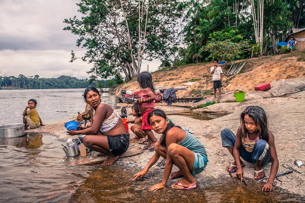 Navigation along upper Rio Negro river, Amazonia, near the Cucui, on the triple border between Brazil, Colombia and Venezuela
