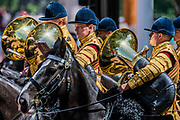 Theband of the Houseold Cavalry return down the Mall - The parade on Horse Guards - His Royal Highness the Duke of York reviews the final rehearsal for the Trooping the Colour on Horseguards Parade and the Mall.