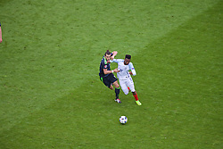 LENS, FRANCE - Thursday, June 16, 2016: Wales' Gareth Bale in action against England's Daniel Sturridge during the UEFA Euro 2016 Championship Group B match at the Stade Bollaert-Delelis. (Pic by Paul Greenwood/Propaganda)