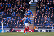 Ivan Toney wins a header during the EFL Sky Bet League 1 match between Portsmouth and Peterborough United at Fratton Park, Portsmouth, England on 7 December 2019.
