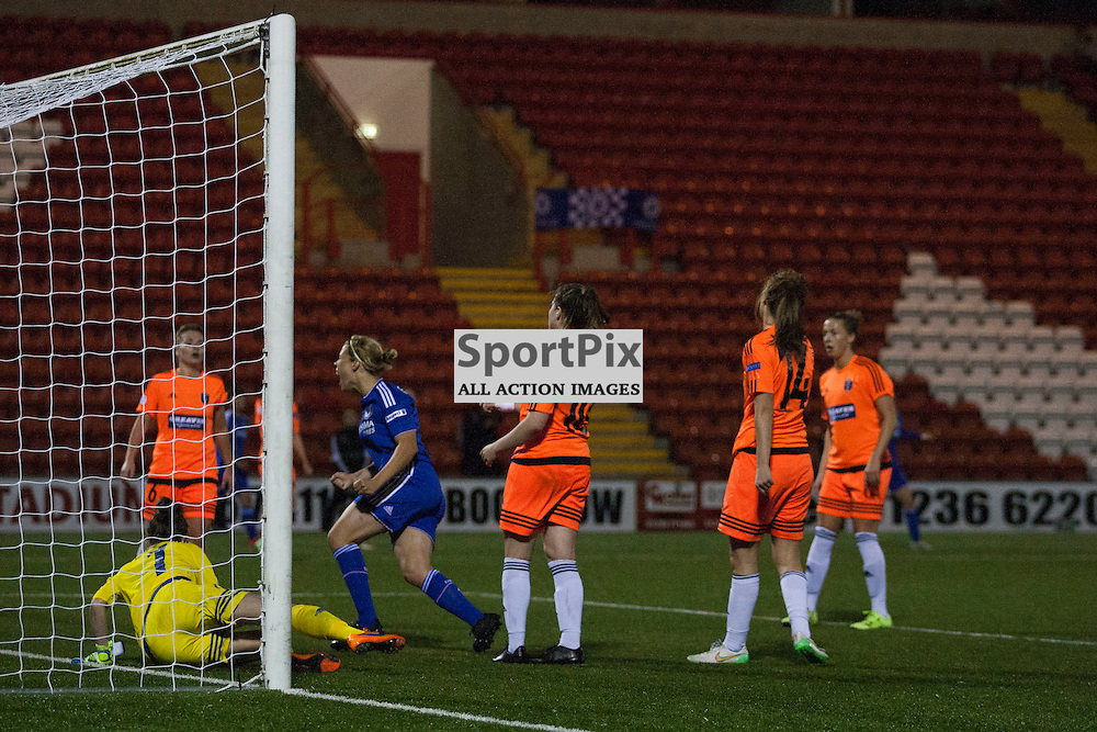 Gilly Flaherty scores to make it 3 to CLFC in the Glasgow City v Chelsea LFC Women's Champions League last-32 2nd Leg 14 October 2015<br />